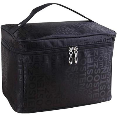 ワイズ ファクトリー バニティポーチ メイクボックス メイクポーチ 化粧ポーチ 大容量 蓋付き ミラー付き 収納(レター(ブラック))