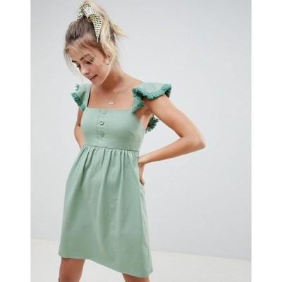 エイソス レディース ワンピース トップス ASOS DESIGN mini smock dress with tassel frill sleeve Sage