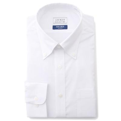 ノンアイロンストレッチ 白 ボタンダウンシャツ 織柄 レギュラーフィット LES MUES