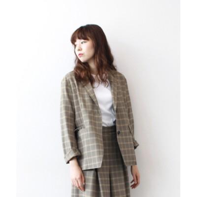 DRESSLAVE / plaid check tailored jacket(グレンチェックテーラードジャケット) WOMEN ジャケット/アウター > テーラードジャケット