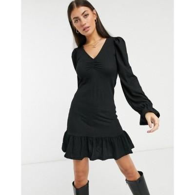 リバーアイランド レディース ワンピース トップス River Island long sleeve frill hem mini dress in black Black