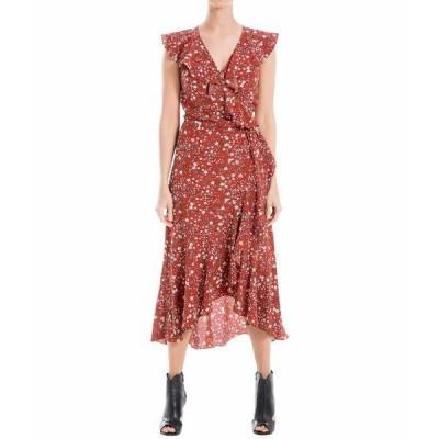 マックススタジオ ワンピース トップス レディース Printed Bubble Crepe Wrap Dress Rust/Gold Large Scribble Daisy All Over