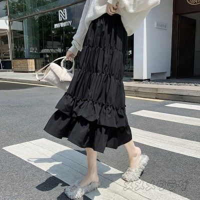 レディース スカート ロング フレアスカート マキシスカート スカート ケーキ プリーツスカート ボリューム ウエストゴム 体型カバー 裏地付き