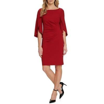 ダナ キャラン ニューヨーク レディース ワンピース トップス 3/4 Tulip Sleeve Crepe Side Ruched Sheath Dress Garnet