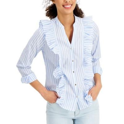 チャータークラブ カットソー トップス レディース Petite Cotton Striped Ruffled Blouse, Created for Macy's Serenity Combo