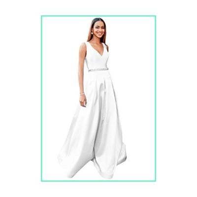 Zhongde V Neck A-line Open Back Beaded Satin Formal Ball Gown Plus Size Floor Length Prom Dress White Size 28並行輸入品