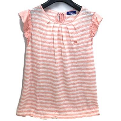 バーバリー ブルーレーベル BURBERRY BLUE LABEL レディース Tシャツ フリル ノースリーブ 38 麻100% 白 ピンク スト