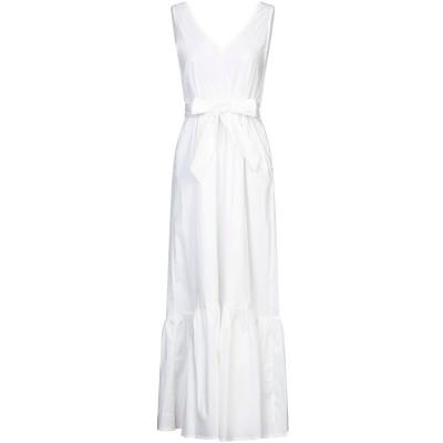 SUOLI ロングワンピース&ドレス ホワイト 40 コットン 68% / ナイロン 29% / ポリウレタン 3% ロングワンピース&ドレス
