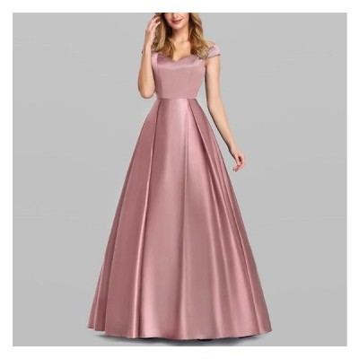パーティードレス 20代 30代 40代 50代 結婚式 ワンピース 大きいサイズ マキシ丈 半袖  Aライン Vネック およばれ ゆったり 体型カバー