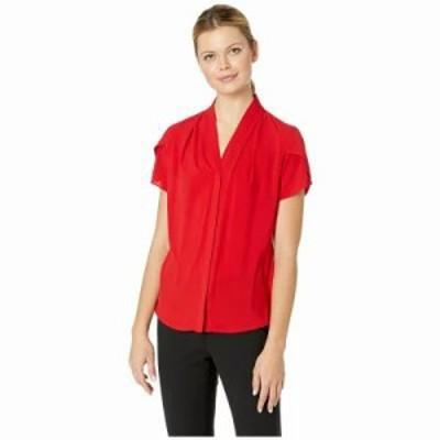 カルバンクライン ブラウス・シャツ Short Sleeve Knit Pullover Red