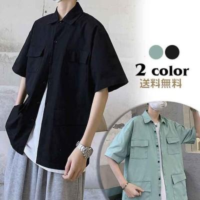 2021新作 メンズシャツ 半袖 ボタンダウンシャツ カジュアルシャツ 無地シャツ トップス 春服  大きいサイズ ゆったり メンズファッション 送料無料