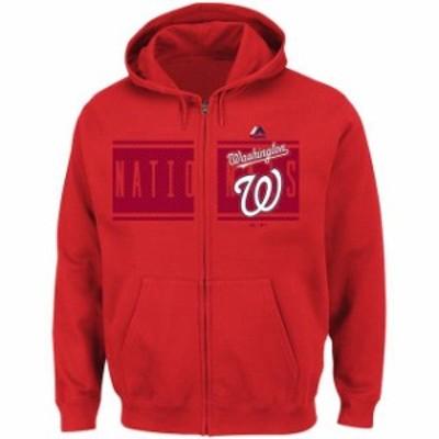 Majestic マジェスティック スポーツ用品  Majestic Washington Nationals Red Piercing Attack Full-Zip Hoodie