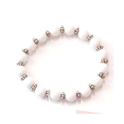 メタル ロンデル&ホワイトビーズ ブレスレット アクセサリー レディース 腕輪
