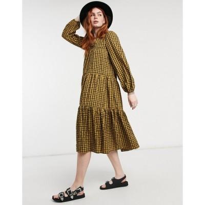 エイソス ミディドレス レディース ASOS DESIGN textured tiered midi smock dress in check エイソス ASOS マルチカラー