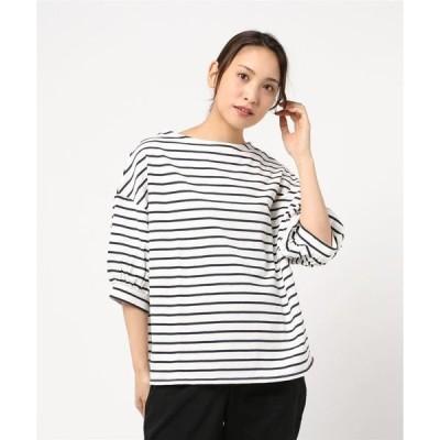 tシャツ Tシャツ 厚ボーダー ボリューム袖プルオーバー