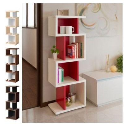 ブックシェルフ デザイン書棚 ディスプレイラック ミドルタイプ 高さ125cm 約幅45cm ( オープンラック 収納棚 )