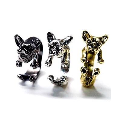 フレンチブルドッグ 癒し系 しがみつくワンコ(犬) デザイン レディース&メンズ フリーサイズ アニマル リングシルバー