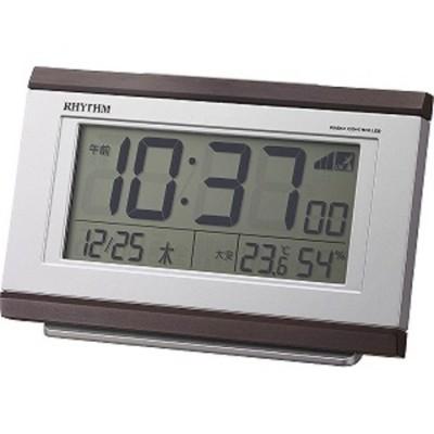 リズム時計工業 デジタル電波目覚まし時計 「フィットウェーブD161」 8RZ161SR06 茶色木目仕上