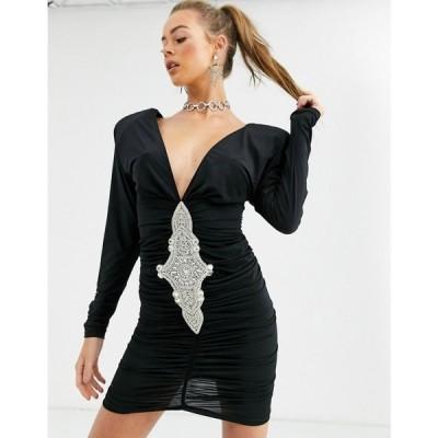 キキリキ Kikiriki レディース ボディコンドレス ワンピース・ドレス plunge front bodycon dress with embellished detail in black ブラック