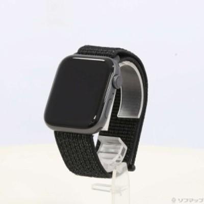 (中古)Apple Apple Watch Series 4 Nike+ GPS 44mm スペースグレイアルミニウムケース ブラックNikeスポーツループ(198-ud)