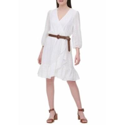 カルバンクライン レディース ワンピース トップス  3/4 Sleeve Faux Wrap Belted Dress Soft White