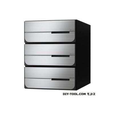 D-ALL ディーオール 大型郵便物対応集合郵便受箱(投入口側のみ防滴仕様)前入後出 ステンレス ヘアーライン KS-MB6302PY-3L-S 0