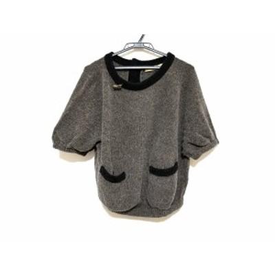 イリアンローブ iliann loeb 半袖セーター レディース 美品 ダークブラウン×黒【中古】20200601