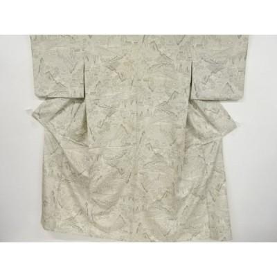 宗sou 遠山に屋敷模様織り出し十日町紬単衣着物【アンティーク】【着】