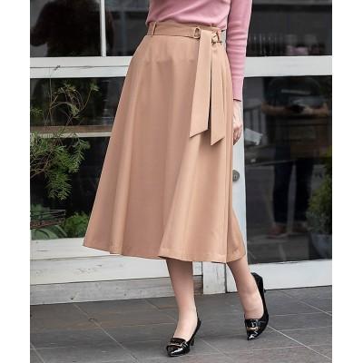 (Rose Tiara(L SIZE)/ローズティアラ エルサイズ)スカーフベルトフレアスカート/レディース キャメル