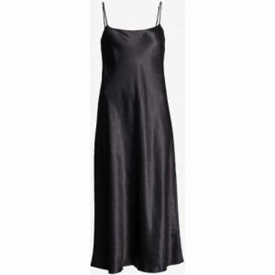 ヴィンス VINCE レディース パーティードレス サテン ワンピース・ドレス Sleeveless Satin Slip Midi Dress BLACK