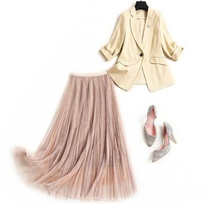 スーツ セットアップ セレモニー スカート プリーツ ジャケット パーティー 式 ママ 母親 スカートセット チュールスカート