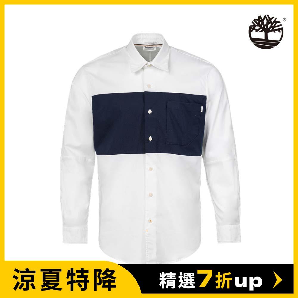 Timberland 男款白色拼接牛津有機棉長袖襯衫|A2ENQA94
