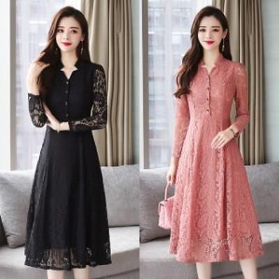 ドレス レース フレア ワンピース 長袖 黒 ピンク お呼ばれ 大きいサイズ 2-3XL #2997