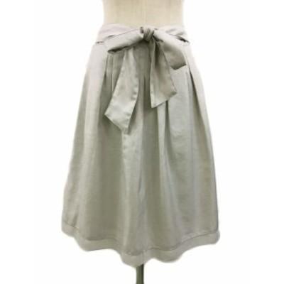【中古】ナチュラルビューティー スカート フレア ひざ丈 タック リボンベルト付き 裾レース 38 ベージュ