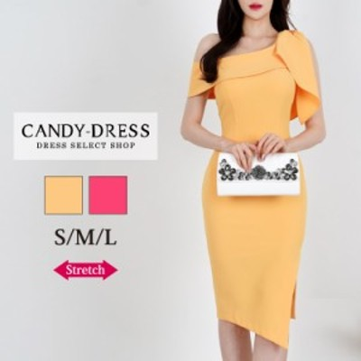 【予約】S/M/L 送料無料 Luxury Dress ストレッチ無地×肩リボンデザインワンショルダーサイドスリットタイトミディドレス SY210302 膝丈