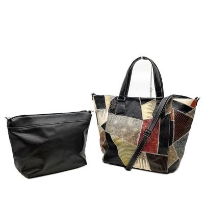 送料無料 美品 トートバッグ ショルダーバッグ 鞄 2WAY リザード 本革 総柄 黒 ブラック系 レディース