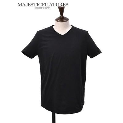 マジェスティック フィラチュール MAJESTIC FILATURES HOMME  国内正規品 メンズ 半袖Tシャツ Men's round neck T-shirt Tシャツ ブラックコットン