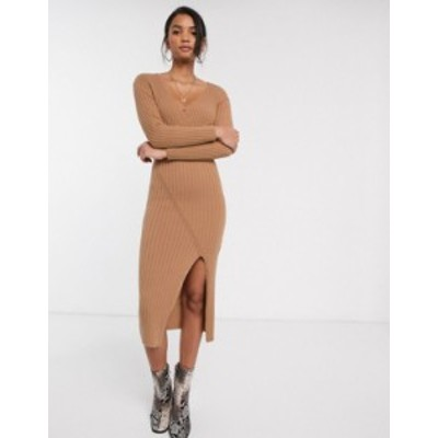 エイソス レディース ワンピース トップス ASOS DESIGN knit rib midi dress with wrap detail Camel