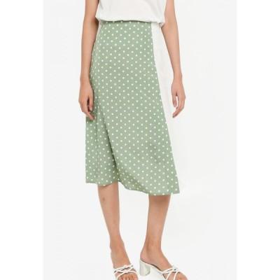 ザローラ ZALORA レディース ひざ丈スカート スカート Colourblock A-line Skirt Dusty Mint/Off White