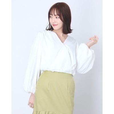 シュベック SVEC ノーカラーオーバーサイズシャツ (ホワイト)