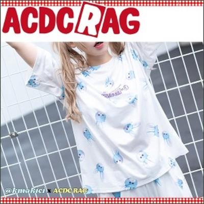 ACDC RAG エーシーディーシーラグ うさじスリー Tシャツ 原宿系 原宿 韓国 白 くまきち うさじ コラボ