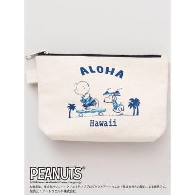 スヌーピー ハワイ ポーチ バッグ 化粧 アクセサリー 小物 キャンバス ハワイアン サーフィン ビーチ コラボ グッズ (ALOHA) SNOOPY HAWAII