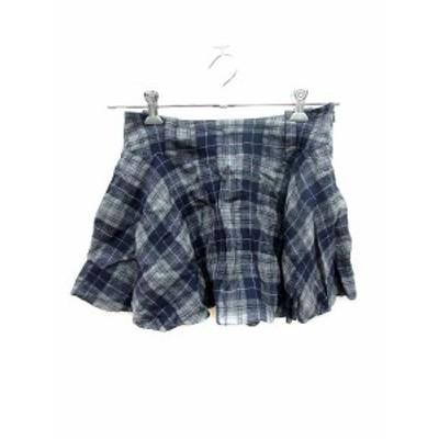 【中古】エストネーション ESTNATION スカート フレア ミニ チェック 36 紺 ネイビー /KB レディース