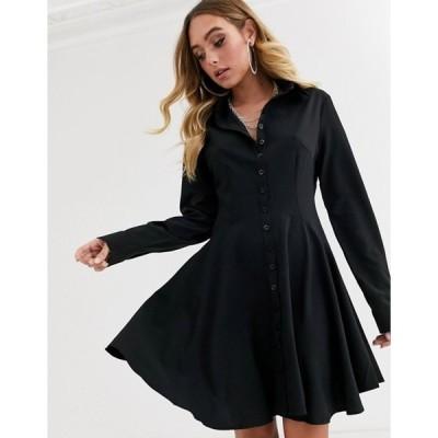 ミスガイデッド レディース ワンピース トップス Missguided skater long sleeve shirt dress in black