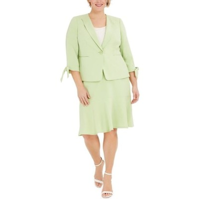 ル スーツ ジャケット&ブルゾン アウター レディース Plus Size One-Button Tie-Sleeve Jacket and Skirt Suit Crabapple Green