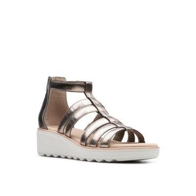 クラークス サンダル シューズ レディース Collection Women's Jillian Nina Wedge Sandals Pewter Metallic Textile