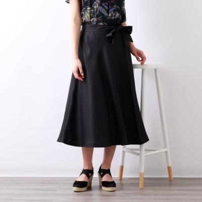 アマカ AMACA サネリアフレアースカート (ブラックネイビー)