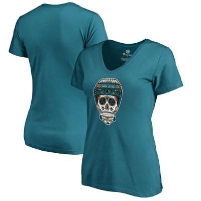 ファナティクス ブランデッド レディース Tシャツ トップス San Jose Sharks Fanatics Branded Women's Fan Favorite Team Slogan V-Neck T-Shirt