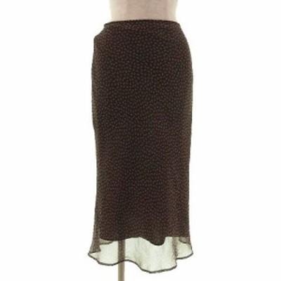 【中古】シーケーカルバンクライン ck Calvin Klein スカート ロング フレアー 総柄 ブラウン 茶 ベージュ 2 レディース