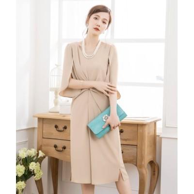 (DRESS STAR/ドレス スター)ウエスト絞りデザインワンピースドレス/レディース ベージュ